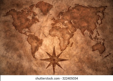world map on vintage paper background