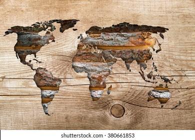 world map on wooden background vintage