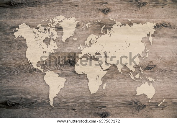World Map On Wooden Planks Background Stock Image | Download Now