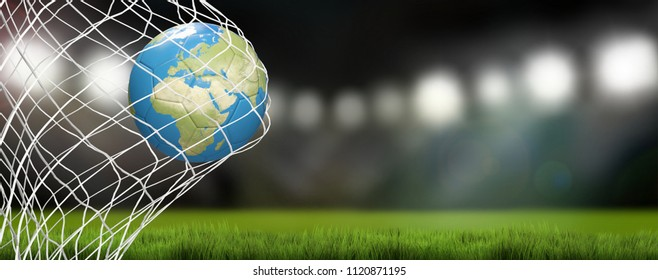 world map over soccer ball in soccer net. goal in soccer stadium 3D-Illustration
