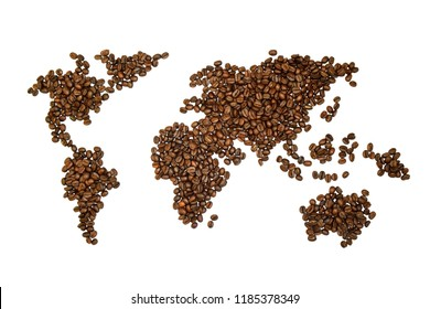 World map picture made with coffee beans, it's high resolution image with white isolated background