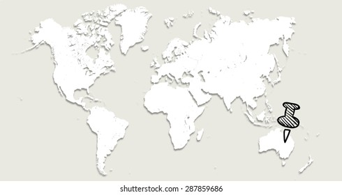 World map pin japan stock illustration 287859680 shutterstock world map with pin in australia gumiabroncs Images