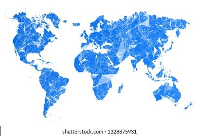World map with plexus