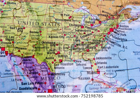 World Map Of United States Of America.World Map Puzzle United States America Stock Photo Edit Now