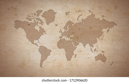 world map silhouete on old paper surface