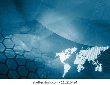 world map technology style - perfect background with space