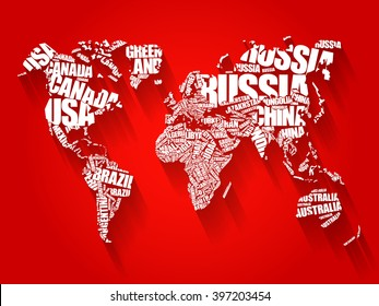 World map with country names images stock photos vectors world map in typography word cloud concept names of countries flat style design background gumiabroncs Images