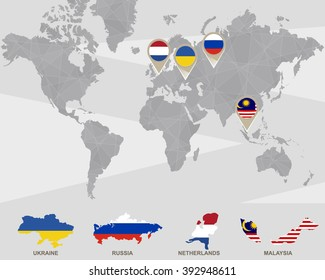 World map ukraine russia france germany stock vector 259631444 world map with ukraine russia netherlands malaysia pointers plane crash raster gumiabroncs Images