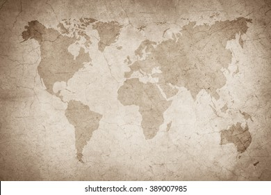 world map vintage pattern/art concrete texture for background in black, grey and white colors