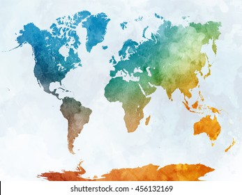 World map watercolor painting abstract splatters stock illustration world map in watercolor painting abstract splatters publicscrutiny Image collections