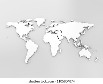 World map white 3d illustration high resolution