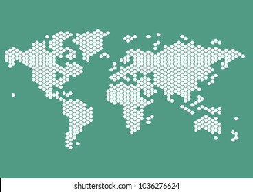 world map in white hexagonal dots on bluegreen background