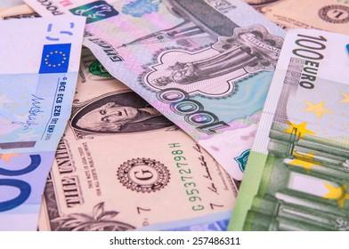 World money - Dollars, euros, russian roubles