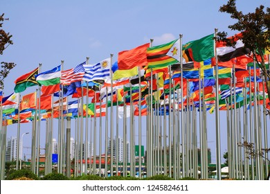 World national flags is flying