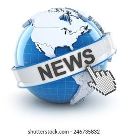 World news symbol, 3d render, white background