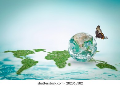 World ocean day, saving water campaign, eco friendly and environmental sustainability concept: Element of this image furnished by NASA