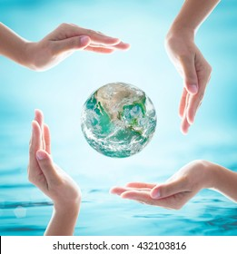 World ocean day, saving water and green earth protection concept: Element of this image furnished by NASA