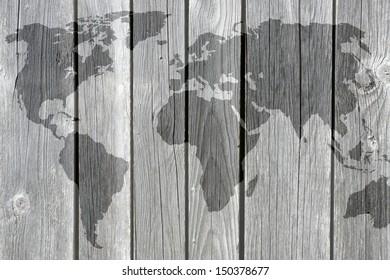World on wooden texture