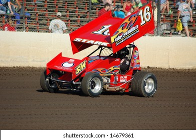 WORLD OF OUTLAW DRIVER TAKING HOT LAPS AT THE TRI STATE SPEEDWAY ON JULY 6, 2008