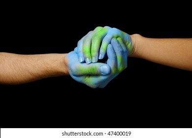 World painted hands