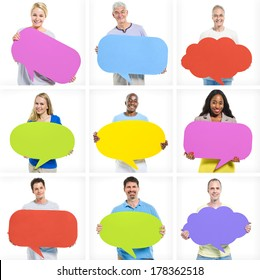 World People with Colourful Speech Bubbles