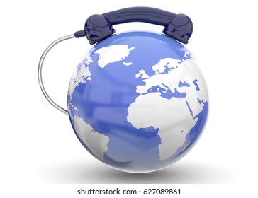 World and Phone on white Background - 3D