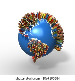 World Population, Globe with people, South America, 3D rendering