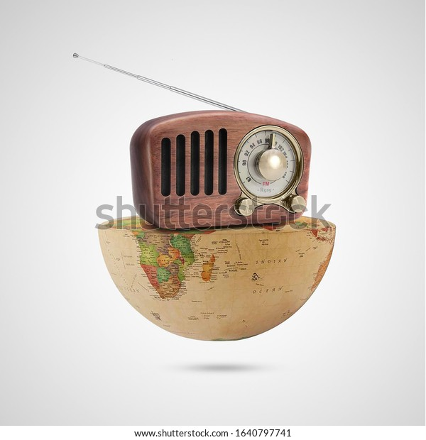 world radio day, antique radio receptor on a  world on white background, with a retro effect, creative, concept, social communication advertising, Vintage Radio the receiver musical, celebrities 13th
