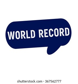 WORLD RECORD wording on Speech bubbles blue cylinder