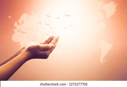 World Religion Day Concept: Human open two empty hands  up  background