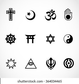 World religions signs icon set