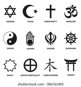 world religious sign and symbols collection, isolated on white background