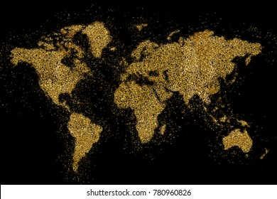 the world shaped from golden glitter on a black background (series)