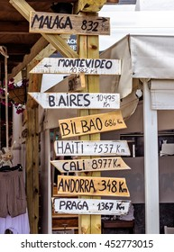 World Signpost - distance a places all over the world