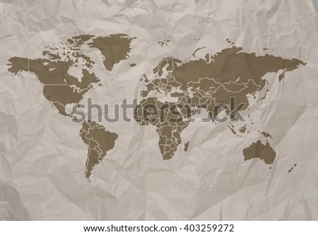 World Simple Map On Old Paper Stock Photo Edit Now 403259272
