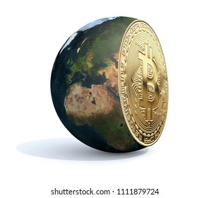 the world sliced and bitcoin inside, 3d illustration. Elements of this image furnished by NASA.