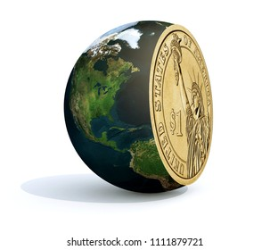 the world sliced and dollar coin inside, 3d illustration. Elements of this image furnished by NASA.