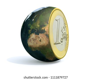 the world sliced and euro coin inside, 3d illustration. Elements of this image furnished by NASA.
