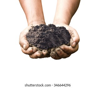 World soil day concept: Human hands holding heart shape of soil isolated on white background