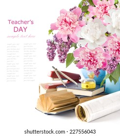World Teacher Day (bunch of flowers, map,books and school tools isolated on white background with sample text)