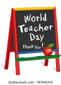 World Teacher Day, Thank You!  Chalkboard Easel for Children, Apple for the Teacher, October 5 celebrates teachers in over 100 countries for classroom, education and school events.