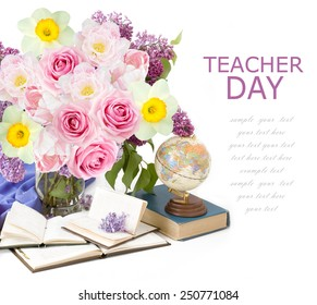 World teacher's day (still life with bunch of flowers and books isolated on white background with sample text)