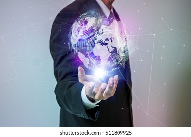 world technological stereoscopic vision on a business person's hand, IoT(Internet of Things), conceptual abstract