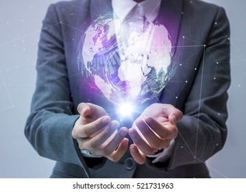 world technological stereoscopic vision on a business person's hand