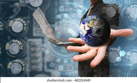 The world of technology communication concept : Elements of this image furnished by NASA