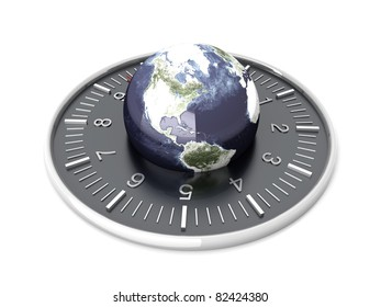 World time. 3D rendered Illustration. Isolated on white.