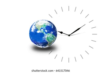 world time concept, clock and earth on white background, Elements of this image furnished by NASA