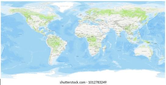 World Topo Map (3D rendering)