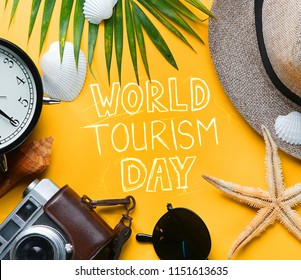 World Tourism Day Typography. Flat Lay Traveling Holiday Vacation Yellow Background