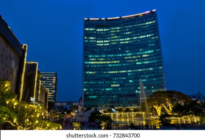 World Trade Center Bangalore and Orion Mall. Photo was taken on 23/09/2017 in the evening at Bangalore India. This is a business place with many international companies. Orion Mall is in the left side